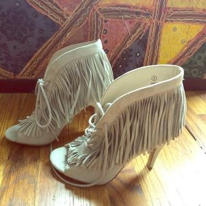NWOB Faux Suede Fringe Lace Up Peep Toe Booties